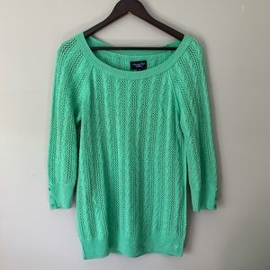 American Eagle Loose Knit 3/4 Sleeve Green Sweater